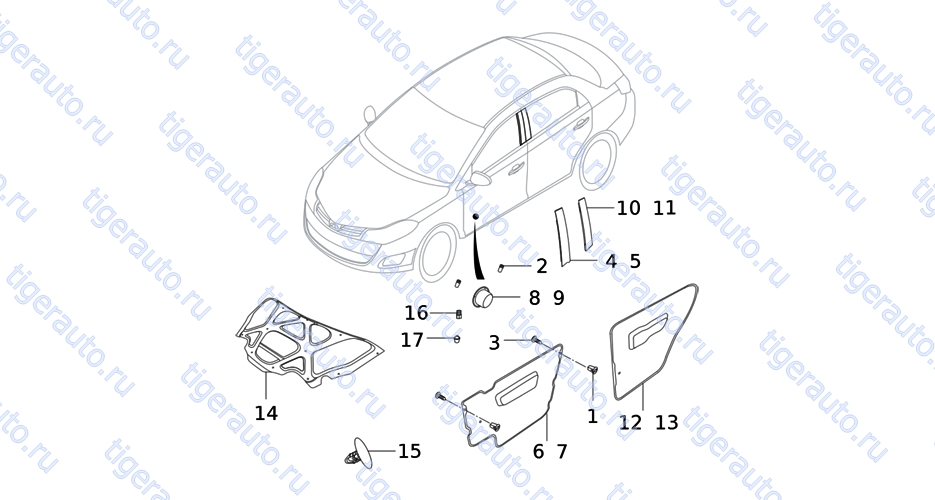 DOOR PANEL TRIM ACCESSORY Chery Very (A13A)